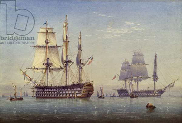 Ships Of The Line, 1825-1840 (w/c & bodycolour over pencil on paper)