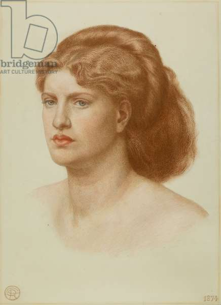 Portrait of Fanny Cornforth, Head and Shoulders, 1874 (coloured chalk on paper)