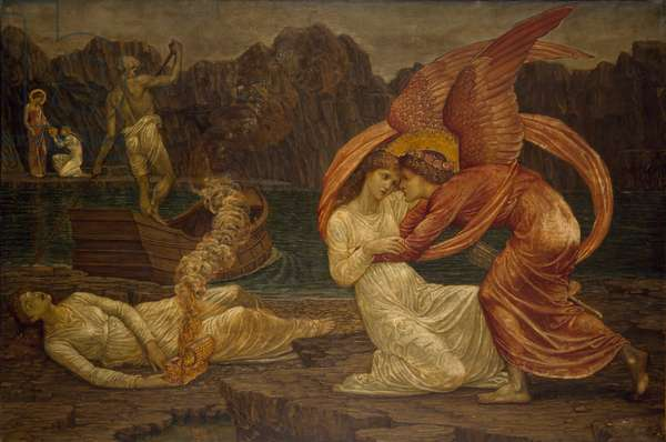 Cupid and Psyche - Palace Green Murals - Psyche receiving the Casket from Proserpine, 1881 (oil on canvas)