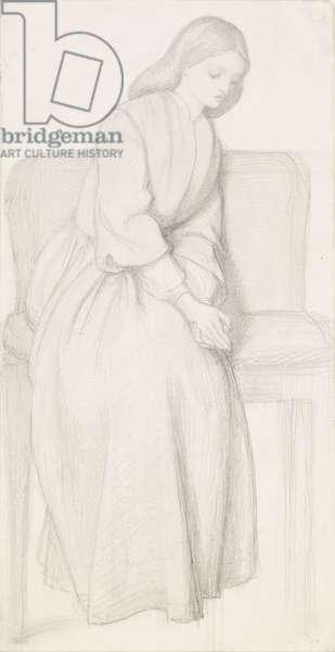 Dante's Vision of Rachel and Leah - Figure Study of Rachel, 1855 (pencil on paper)