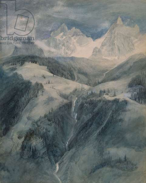 La Cascade de la Folie, Chamonix (w/c on paper)