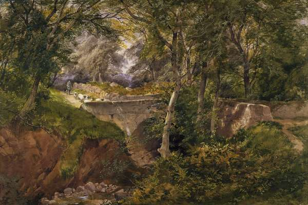 Wooded Landscape with Sheep Crossing a Bridge, 1868 (w/c, pencil & gouache on paper)