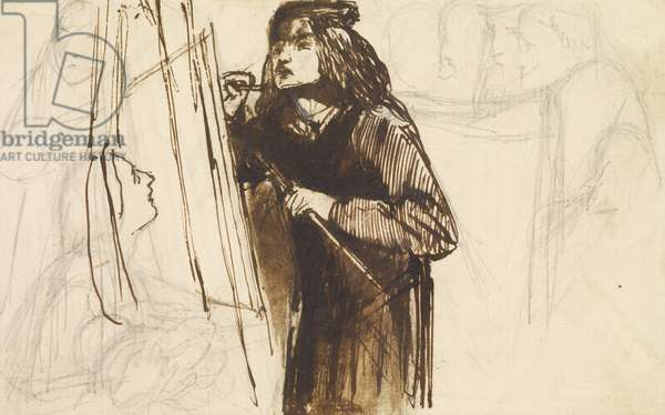 A Painter at Work, 1850-1852 (pencil & ink on paper)