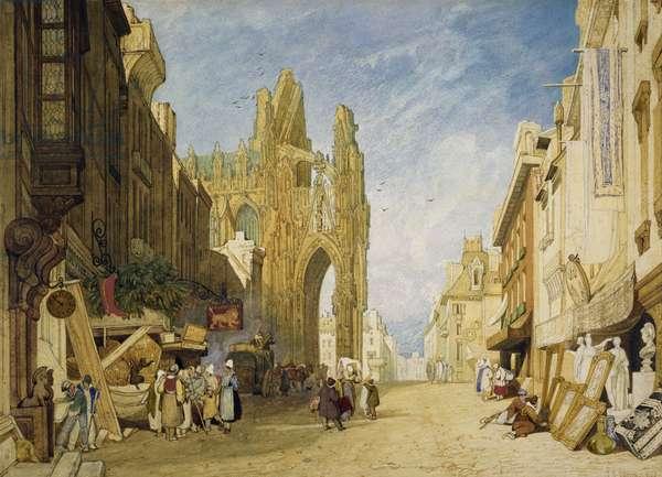 Street Scene at Alencon, Normandy, 1828 (w/c on paper)