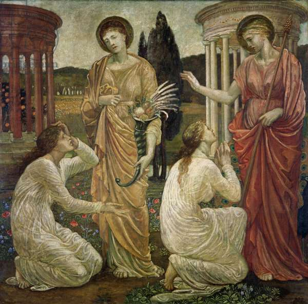 Cupid and Psyche - Palace Green Murals - Psyche at the Shrines of Juno and Ceres, 1881 (oil on canvas)