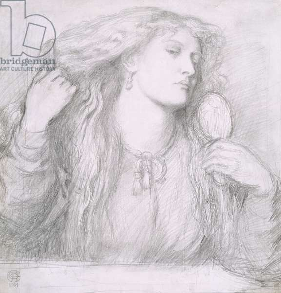 Woman combing her hair, Fanny Cornforth, 1864 (pencil on paper)
