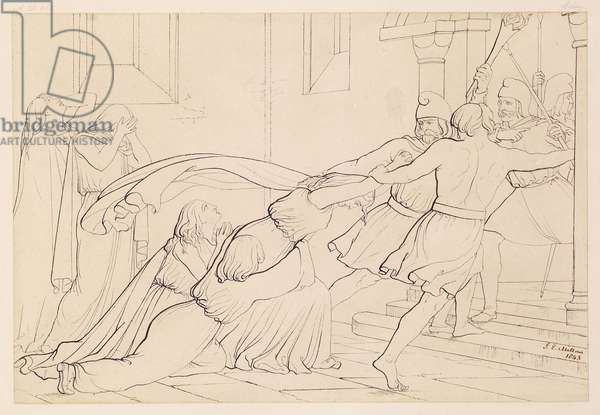 Elgiva Seized by the Order of Archbishop Odo, 1843 (pen & ink on paper)