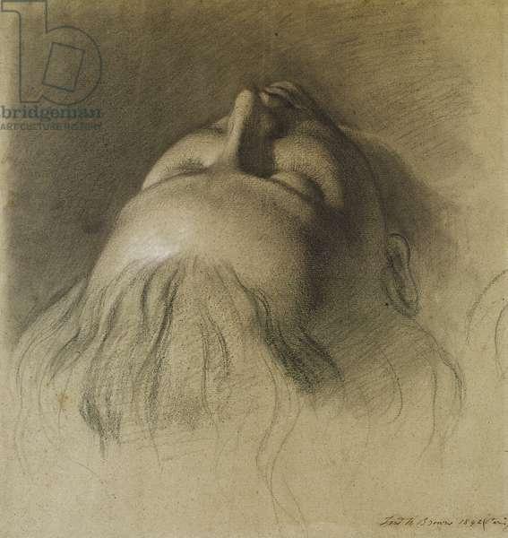 Parisina's Sleep - Study for Head of Parisina, 1842 (chalk on paper)