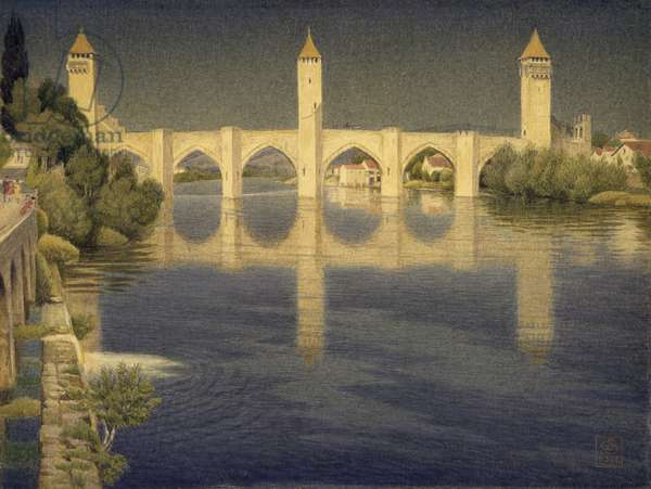 Pont Valentre, Cahors, South Side, 1936 (w/c on paper)