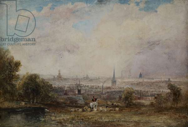 A Distant View of Birmingham, 1825-1830 (oil on panel)