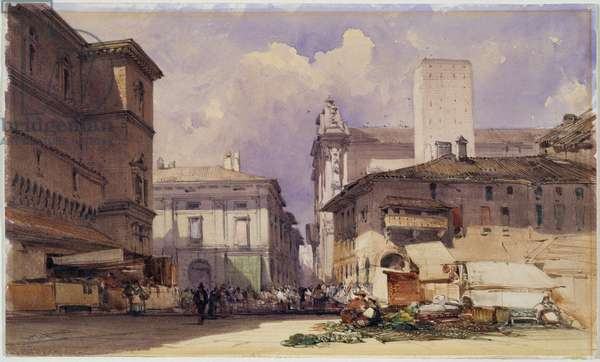 Via dell'Independenza with the Palazzo Comunale, Bologna, 1892 (w/c on paper)