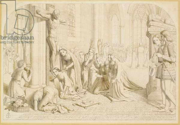 An Incident in the Life of St. Elizabeth of Hungary (1207-31), 1850 (pen & black & brown ink over pencil on paper)
