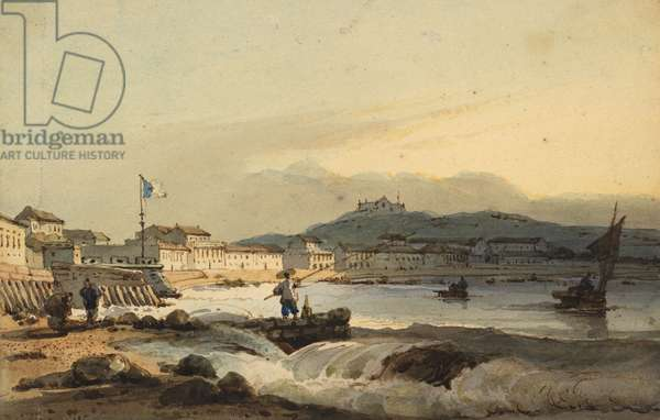 The Praya Grande, Macao, from the south, with St Peter's Fort to the left, 1830-1845 (w/c on paper)