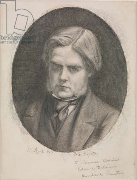 Portrait of William Holman Hunt, 1853 (pencil over grey wash with scratching)