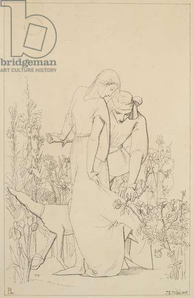 Lovers by a Rosebush, 1848 (pen and ink on paper)