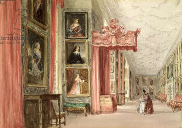 Interior of the Long Gallery, Hardwick Hall, Derbyshire, 1838 (w/c on paper)