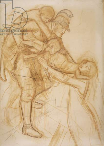 Cartoon for 'The Rescue', c.1855 (pencil & red chalk on paper)
