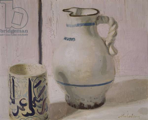 Pink Still Life with Jug (oil on canvas)