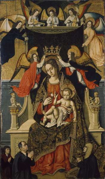 The Virgin and Child with Angels and Donors, 1475-1500 (tempera on canvas)