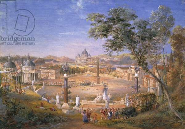 A View of Modern Rome During the Carnival, 1838 (w/c and gouache over pencil on paper)