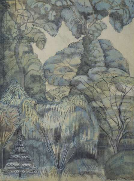 Trees in Bird Garden, Iver Heath, 1913 (w/c & pencil on paper)