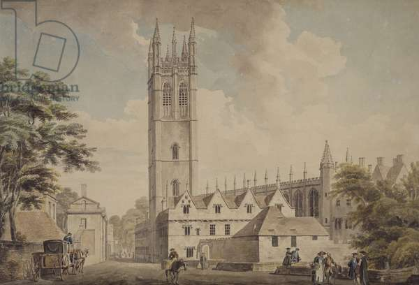 Magdalen Bridge And Tower, Oxford, 1768-1772 (pen & ink and w/c on paper)