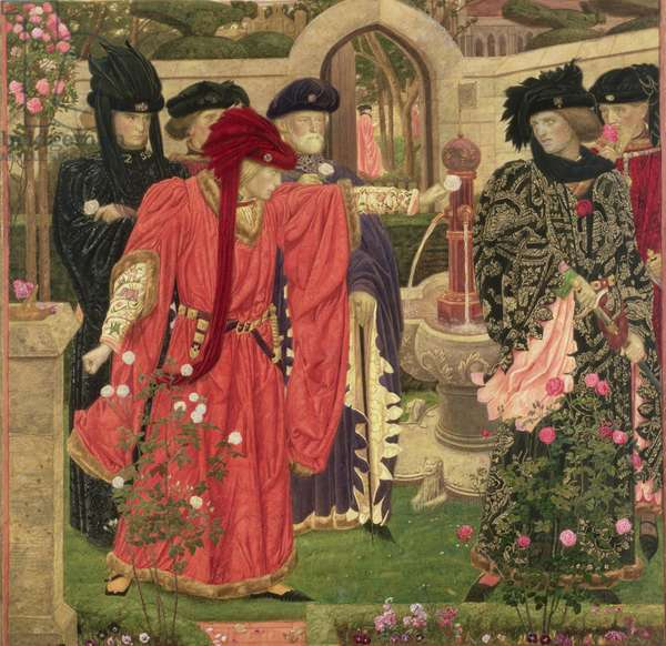 Choosing The Red and White Roses in the Temple Garden, 1910 (pen & ink, w/c, gouache and gold leaf)