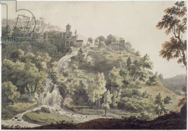 Tivoli: A View of the Villa of Maecenas, 1858 (pen & ink & w/c on paper)