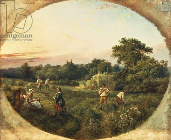 Haymaking in Matthew's Field, Handsworth, 1859 (oil on canvas)