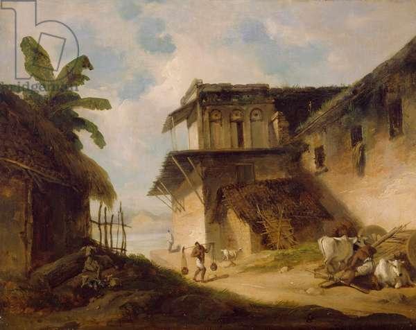 Bengal Village Scene, 1819-1821 (oil on canvas)