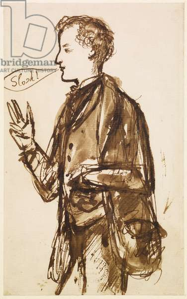 Caricature of John Everett Millais, c.1851-53 (pen & ink and wash on paper)