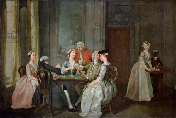 Playing At Quadrille, 1740-50 (oil on canvas)