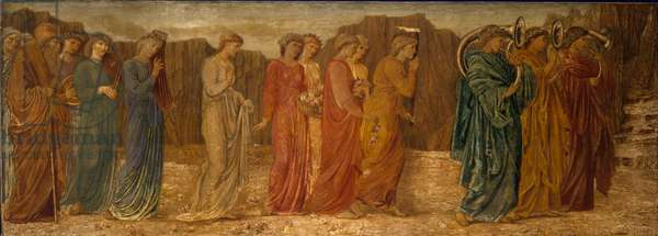 Cupid and Psyche - Palace Green Murals - The King and other Mourners abandon Psyche to the Monster, 1881 (oil on canvas)