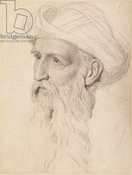 Study for the Head of Elijah, 1860-61 (pencil on paper)