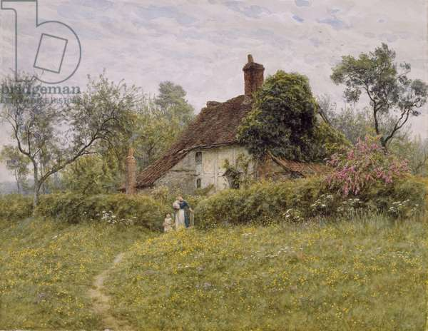 Old Cottages at Pinner, 1895 (w/c on paper)