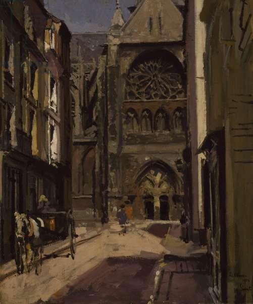 La Rue Pecquet, Dieppe, 1900 (oil on canvas)