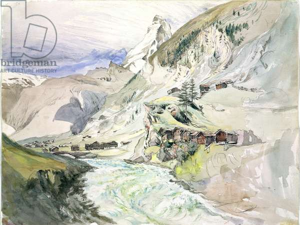 An Alpine Valley: The Matterhorn in the Distance (w/c on paper)
