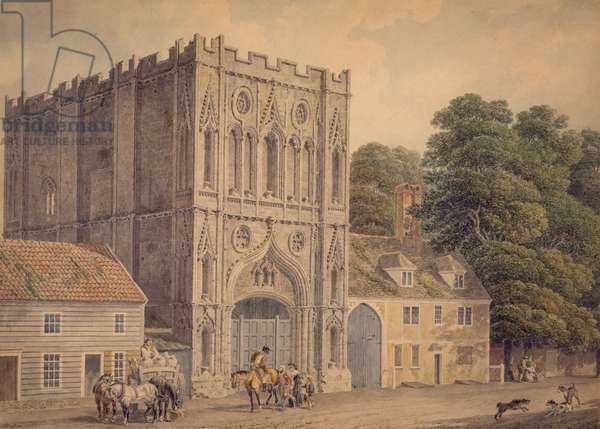 The West Front of the Abbey Gate, Bury St. Edmunds, 1788-1801 (w/c over pencil on paper)