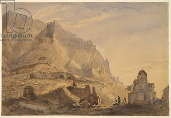 A Fortified Town on a Hilltop (North side of the Acropolis, Athens), 1825-1855 (w/c over pencil with gouache on paper)