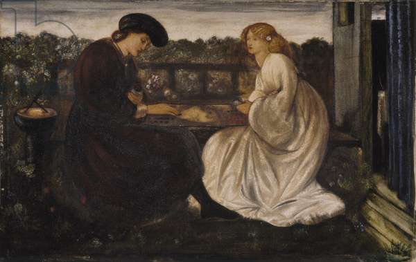 The Backgammon Player, 1862 (w/c & bodycolour on paper laid on canvas)