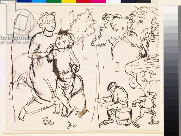 Sheet of studies caricaturing the post-Raphaelesque style, 1853 (pen & ink on paper)