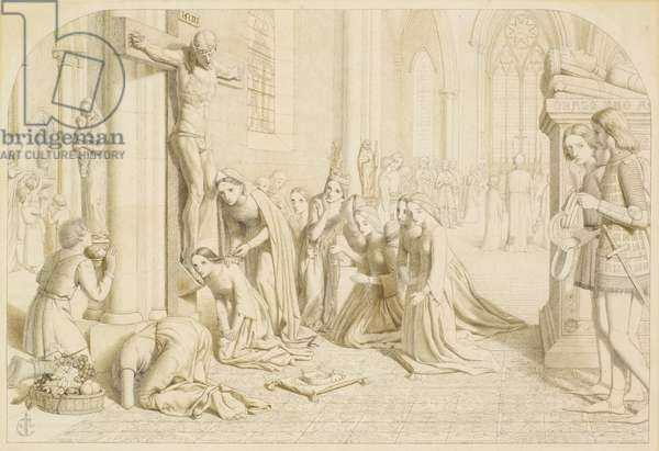 An Incident in the Life of Saint Elizabeth of Hungary - Compositional Study, 1850 (pencil on paper)