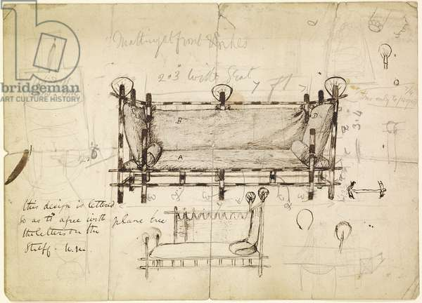 Two Designs for a Sofa, c.1861-62 (pencil and pen & ink on paper)