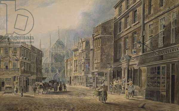 London, Old Tothull St.Leading to Westminster Abbey, 1776 (w/c on paper)
