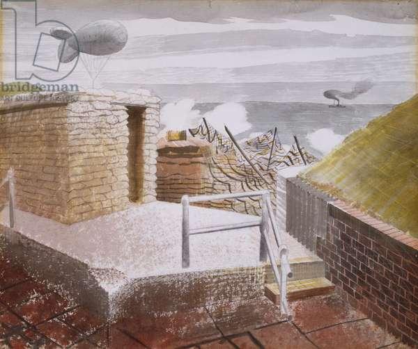 Coastal Defences, October 1941 (w/c over pencil on paper)