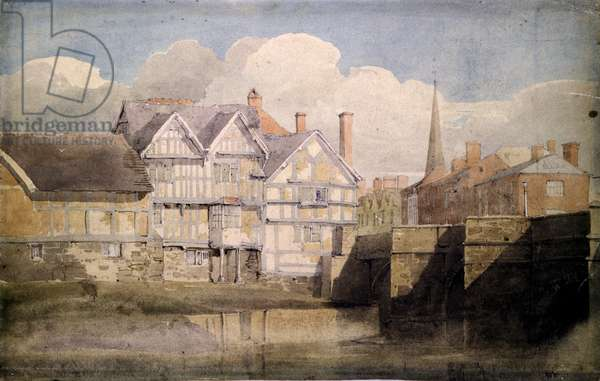 Old Houses and Wye Bridge, Hereford, 1820 (w/c over pencil on paper)