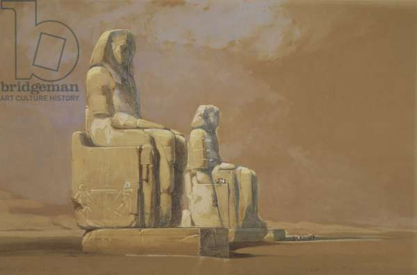 Colossi, Thebes, 1838 (w/c on paper)