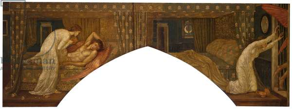 Cupid and Psyche - Palace Green Murals - Psyche holding the Lamp gazes on the Face of sleeping Cupid and Psyche abandoned, 1881 (oil on canvas)