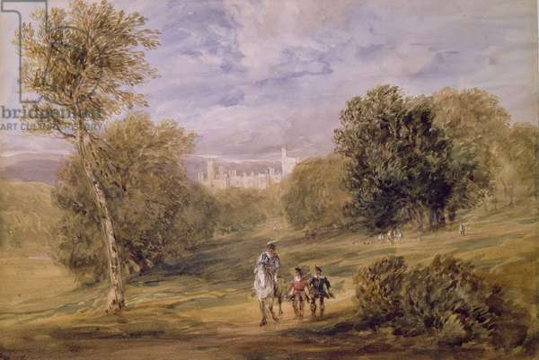 Haddon Hall from the Park, 1831 (w/c over pencil on paper)