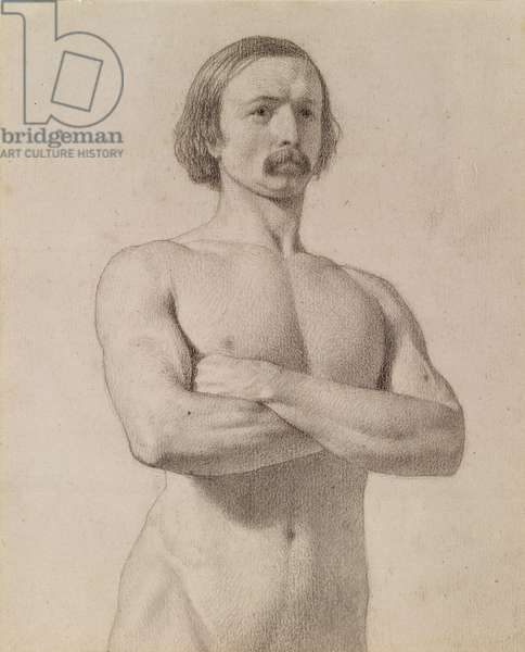 Academic nude Study, half-length with Moustache and Arms folded, 1849 (black chalk on paper)